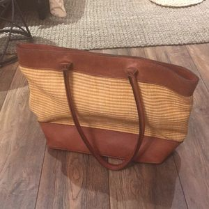 Leather and Straw Tote